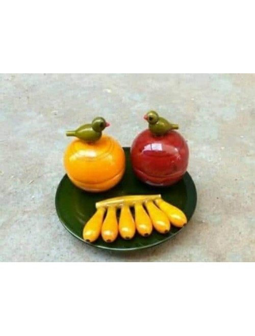 Handmade Lacquer Wooden Etikoppaka Toy Fruit Plate with Fruits