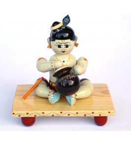 Authentic Handmade Etikoppaka Wooden Toy Of Cute Sitting Kanha
