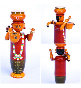 Authentic Handmade Etikoppaka Wooden Toy Of Folk Haridasu Singing Melodious Song