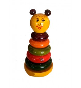 Etikoppaka Toys Wooden Colorful Ring Stand