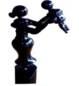 Etikoppaka Toys Wooden Black Statue of Mother & Child For Decoration Purpose