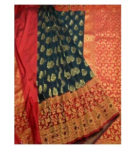 Banarasi Semi Cotton Silk Tiber Saree with Attached Blouse Piece for Women