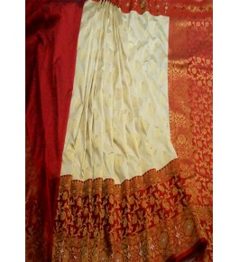 Banarasi Semi Cotton Silk Cream Saree with Attached Blouse Piece for Women