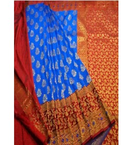 Banarasi Semi Cotton Silk Sky Blue Saree with Attached Blouse Piece for Women