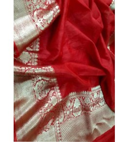 Banarasi Pure Linen Red Saree with Attached Blouse Piece for Women