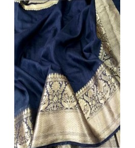 Banarasi Pure Linen Dark Blue Saree with Attached Blouse Piece for Women
