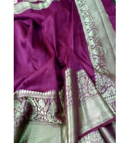 Banarasi Pure Linen  Dark Pink Saree with Attached Blouse Piece for Women