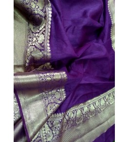 Banarasi Pure Linen Violet Saree with Attached Blouse Piece for Women