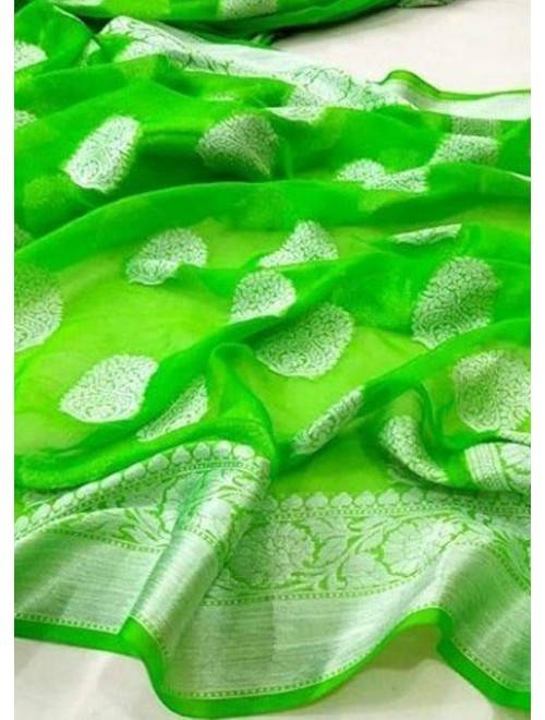 Banarasi Georgette Silk Green Saree with Attached Blouse Piece for Women