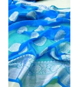 Banarasi Georgette Silk Blue Saree with Attached Blouse Piece for Women