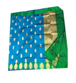 Banarasi Pure Cotton Blue Saree with Attached Blouse Piece for Women