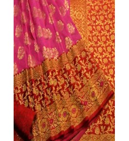 Banarasi Semi Coton Silk Pink Saree with Attached Blouse Pink for Women