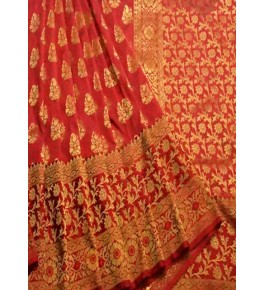 Banarasi Semi Cotton Silk Red Saree with Attached Blouse Piece for Women