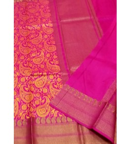 Banarasi Pure Cotton Magenta Saree with Attached Blouse Piece for Women