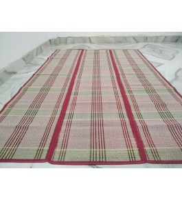 Alluring Handmade Natural Fibre Green Border Red Colour Madurkathi Folding Mat For Daily Use