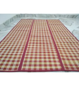 Alluring Handmade Natural Fibre Red Check Madurkathi Folding Mat For Daily Use