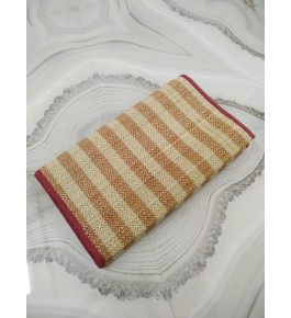 Alluring Handmade Natural Fibre Red Yellow Check Madurkathi Folding Mat For Daily Use