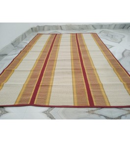 Alluring Handmade Natural Fibre Yellow And Cream Colour Madurkathi Folding Mat For Daily Use