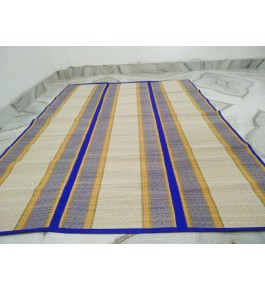 Alluring Handmade Natural Fibre Violet Border Beige Colour Madurkathi Folding Mat For Daily Use
