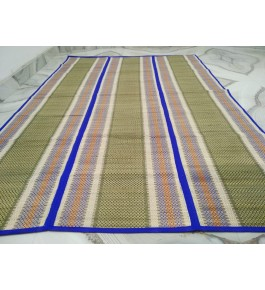Alluring Handmade Natural Fibre Violet Border Green Colour Madurkathi Folding Mat For Daily Use