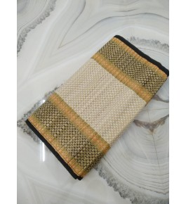 Alluring Handmade Natural Fibre Black Border Cream Colour Madurkathi Folding Mat For Daily Use