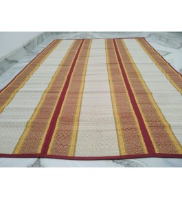 Alluring Handmade Natural Fibre Orange Border Cream Colour Madurkathi Folding Mat For Daily Use