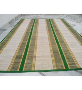 Alluring Handmade Natural Fibre Green Border Beige Colour Madurkathi Folding Mat For Daily Use