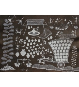 Embellishing Natural Handicraft The Potter Life Theme Warli Painting For Decoration Person