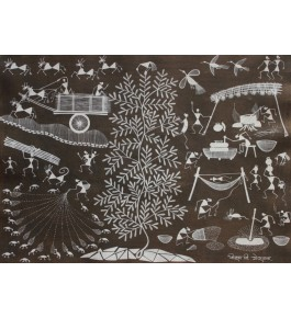 Embellishing Natural Handicraft The Daily Life Theme Warli Painting For Decoration Person