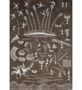 Embellishing Natural Handicraft The Human Daily Life Theme Warli Painting For Decoration Person
