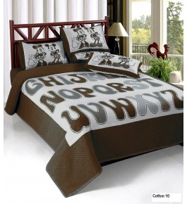 Bhaiji's Attractive Coffee Heavy Cotton Double Bedsheet With Pillow Cover