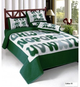 Bhaiji's Attractive Green Heavy Cotton Double Bedsheet With Pillow Cover