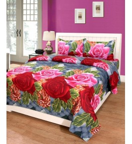 Bhaiji's Attractive Floral Design Double Bedsheet With Pillow Cover