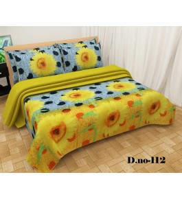 Bhaiji's Poly Cotton Floral Printed Double Bedsheet With 2 Pillow Cover