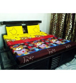 Bhaiji's Attractive Colorful Kids Cartoon Teddy Print Double Bedsheet With 2 Pillow Cover