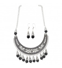 Aradhya Designer Contemporary Black Oxidized Beads Necklace For Girls & Women
