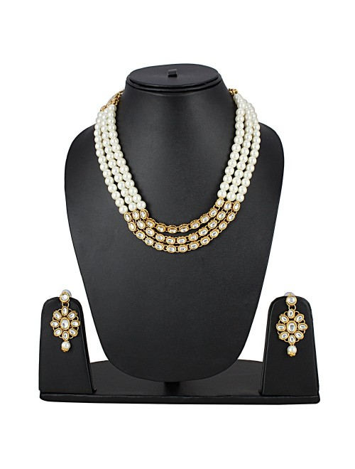 Aradhya Designer Bollywood Inspired Pearl Kundan Jewellery Set For Women