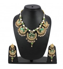Aradhya Designer High Quality Green Stone Kundan Necklace With Earrings For Women & Girls