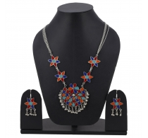 Aradhya Designer Silver Necklace With Matching Earrings For Women & Girls