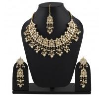 Aradhya Designer  Kundan Necklace Set With Earrings And Maang Tikka For Women