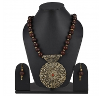 Aradhya Brown Wooden Acrylic Beads Strand Necklace Earring Set For Women