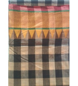 Handcrafted Block Pattern Kasuti Embroidery Cotton Saree for Women