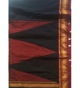 Beautiful Black Red Kasuti Embroidery Cotton Saree for Women