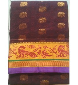 Handwoven Golden Butidar Kasuti Embroidery Cotton Saree for Women