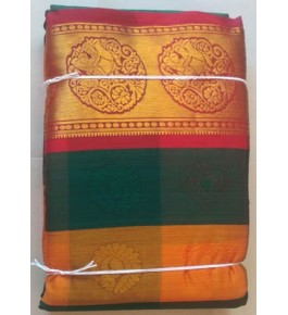 Handwoven Golden Border Kasuti Embroidery Cotton Saree for Women