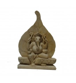 Varanasi Wooden Lacquerware & Toys Decorative Ganesha On Leaf
