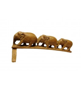 Varanasi Wooden Lacquerware & Toys Decorative Elephant Family Set Showpiece