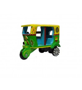Varanasi Wooden Lacquerware & Toys Decorative Auto Rickshaw Showpiece