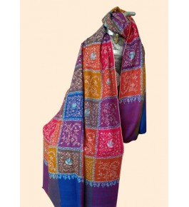 Authentic Handloom Golden Striped Jal Long Pashmina Shawl In Multicolour For Women