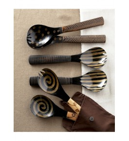 Handmade Horn Black Spoons With Handle For Kitchen By Humran Export